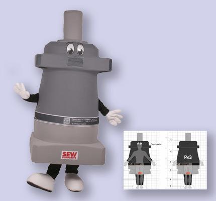 Getriebe Motor Kostüm Maskottchen SEW